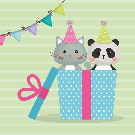 A cute cat with bear panda sweet character birthday card vector illustration design