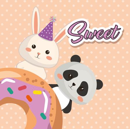 A cute bear panda and rabbit birthday card vector illustration design