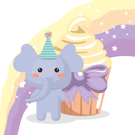 A sweet and delicious cupcake with elephant vector illustration design Illustration