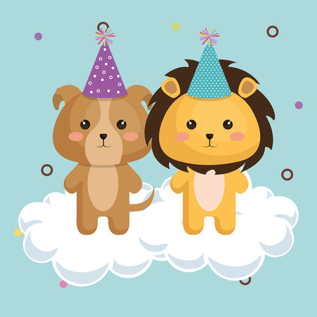 Cute lion with dog kawaii birthday card vector illustration design