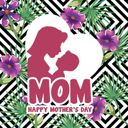 Happy mothers day card with mom and son silhouette vector illustration design. Illustration