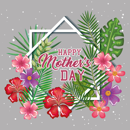 Happy mothers day card with floral decoration vector illustration design.