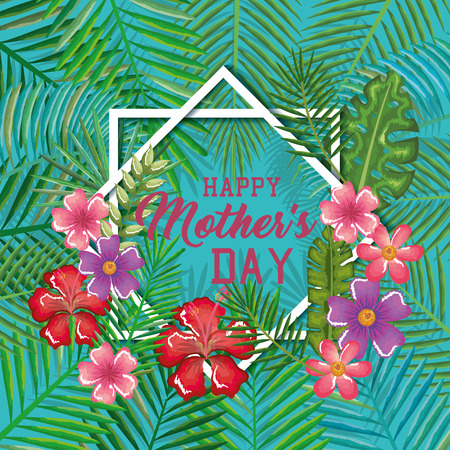 Mother's day card with frame and floral decoration.