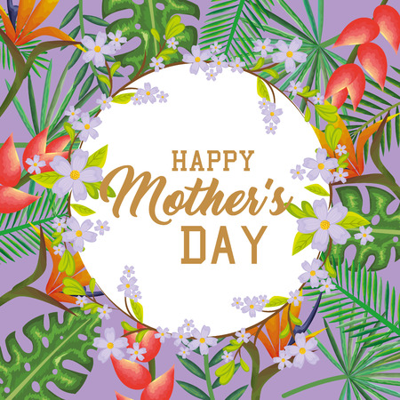 Mother's day card with floral decoration and round frame design. Иллюстрация