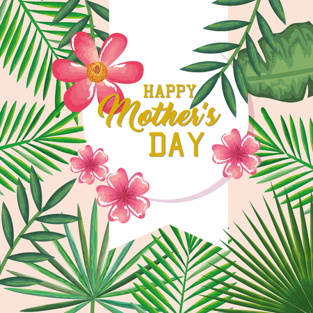 Happy mothers day card with floral decoration vector illustration design Иллюстрация