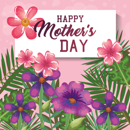 Happy mothers day card with floral decoration vector illustration design 일러스트
