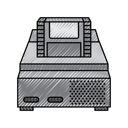 Retro video console game and cassette vector illustration drawing design Illustration