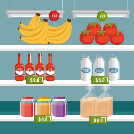 Supermarket groceries in shelving vector illustration design