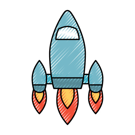 Video game retro rocket launch style vector illustration drawing design Ilustrace