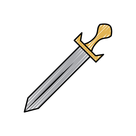 Sword for weapon in  battle vector illustration drawing design Illustration