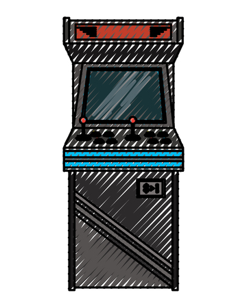 Vintage arcade game machine with joysticks and buttons vector illustration drawing design Illustration