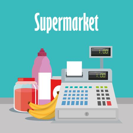 Supermarket groceries with register machine vector illustration design Illustration