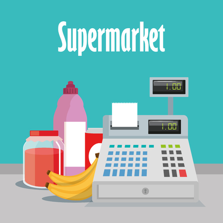 Supermarket groceries with register machine vector illustration design 일러스트