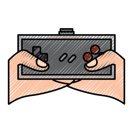 young man hands holding video game control push buttons vector illustration drawing design Illustration