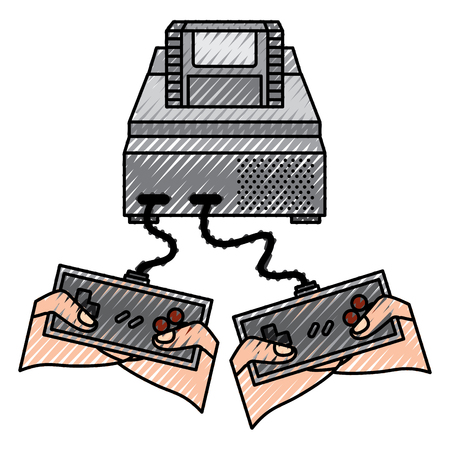 people playing video game hands holding console controller vector illustration drawing design
