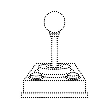 Control video game joystick retro device vector illustration dotted line design 일러스트