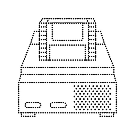 Retro video console game and cassette vector illustration dotted line design