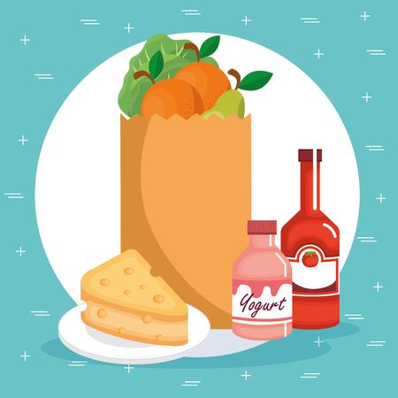 Supermarket groceries set icons like yogurt, cake and fruits  vector illustration design