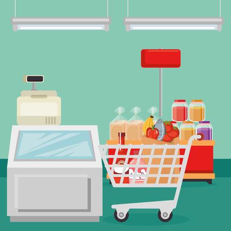 Supermarket groceries in shopping cart vector illustration design Illustration