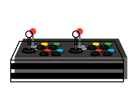 video game control joystick retro technology vector illustration Illustration