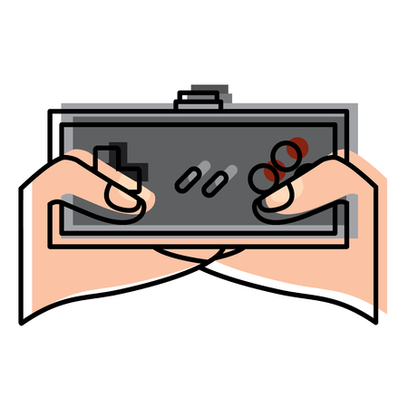 young man hands holding video game control push buttons vector illustration Illustration