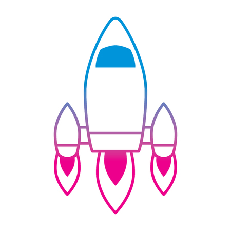 video game retro rocket launch style vector illustration degrade color line image Illustration