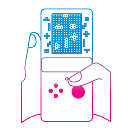 gamer hand holding console with tetris game on screen vector illustration degrade color line image