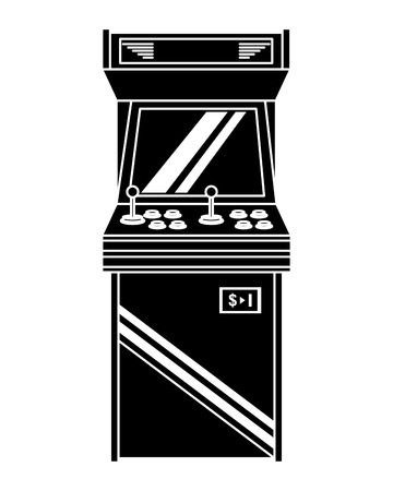 vintage arcade game machine with joysticks and buttons vector illustration black and white design Ilustrace