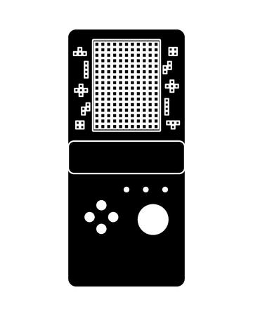 portable game console retro game tetris vector illustration black and white design Illustration
