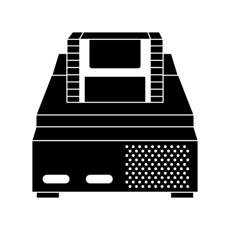 retro video console game and cassette vector illustration black and white design Иллюстрация