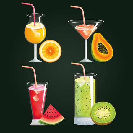 Set tropical and exotic cocktails with fruits vector illustration design