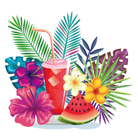 Tropical cocktail with watermelon fruit and decoration floral, vector illustration design. Vettoriali