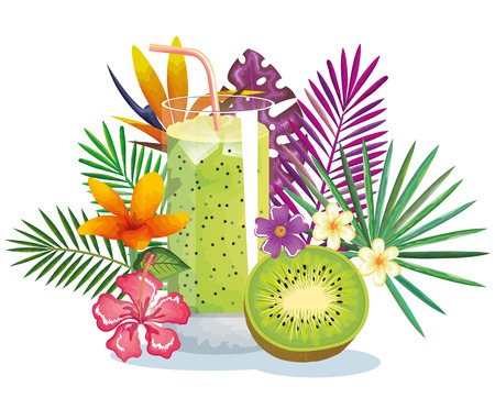 Tropical cocktail with kiwi fruit and decoration floral, vector illustration design.