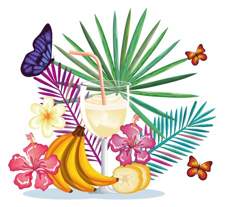 Tropical cocktail with banana fruit and decoration floral vector illustration design