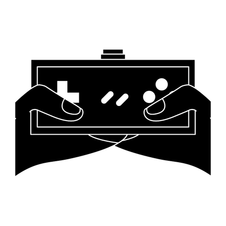 young man hands holding video game control push buttons vector illustration black and white design