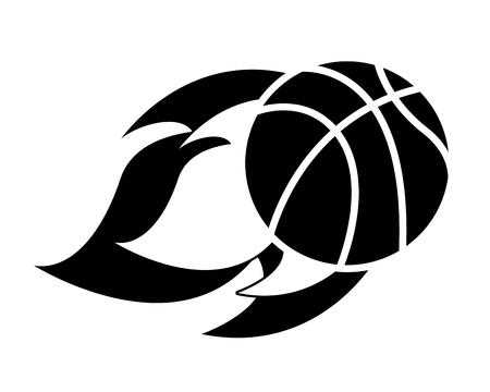 flying ball basketball on fire sport vector illustration black and white design