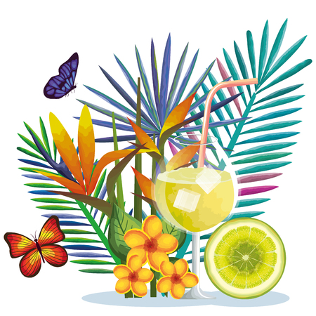 Tropical cocktail with lime fruit and decoration floral vector illustration design