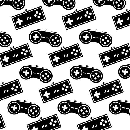 video game controller background devices retro pattern vector illustration black and white design Ilustrace