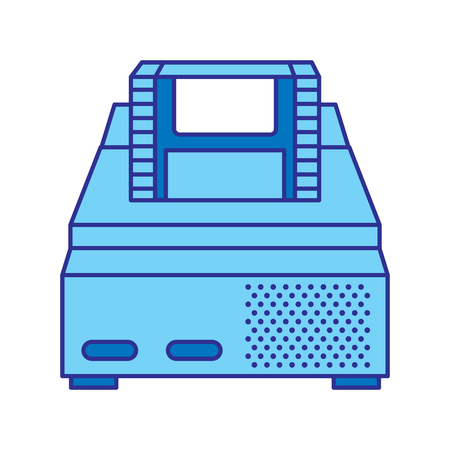 retro video console game and cassette vector illustration blue design Ilustração