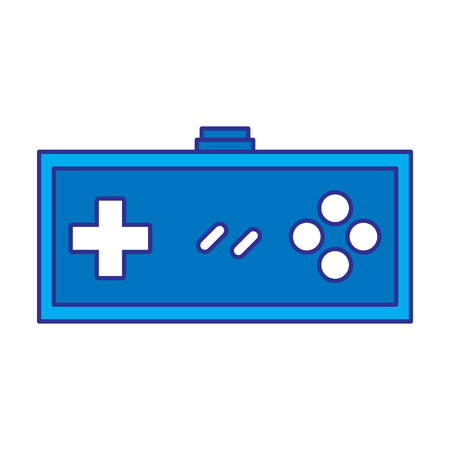 video game controller retro push button vector illustration blue design Illustration