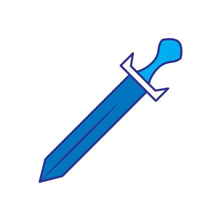 剣の武器バトルハンドルヴィンテージベクトルイラスト青デザイン