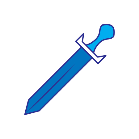 sword weapon battle handle vintage vector illustration blue design