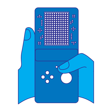gamer hand holding console with tetris game on screen vector illustration blue design Illustration