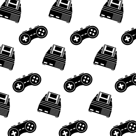 Retro video game console and game pad pattern. Vector illustration, black and white design.