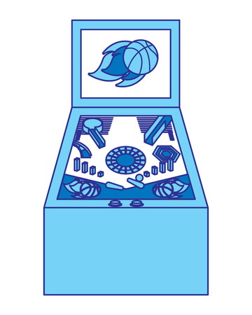 retro arcade screen pinball game machine vector illustration blue design Illustration
