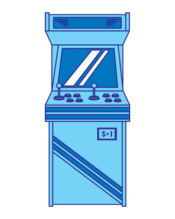 Vintage arcade game machine with joysticks and buttons, vector illustration blue design. Ilustrace