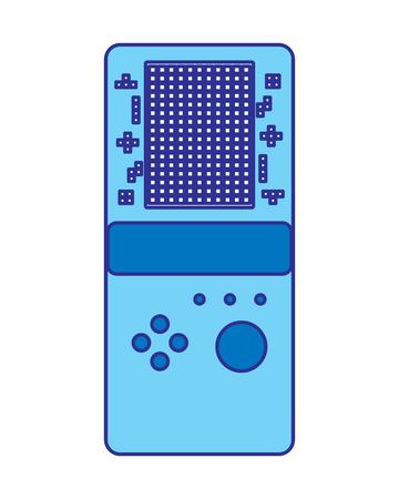 portable game console retro game tetris vector illustration blue design