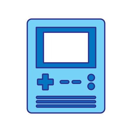 retro portable video game console gadget vector illustration blue design Imagens - 96500621