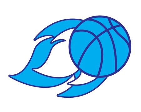 flying ball basketball on fire sport vector illustration blue design