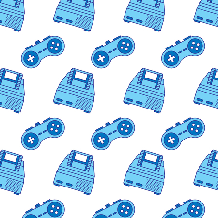 retro video game console and gamepad pattern vector illustration blue design Illustration